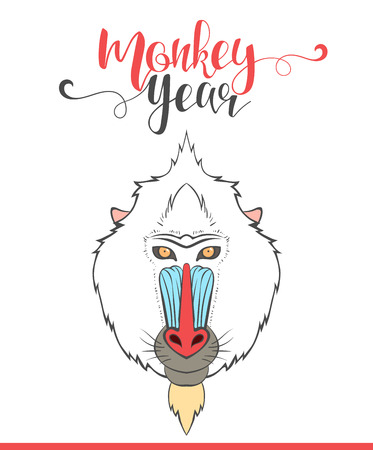 mandrill: Lettering calligraphy with monkey. Happy monkey year. Modern lettering. Design labels with mandrill. Congratulatory text design for printing festive cards, invitations, presentation. Ready design Illustration