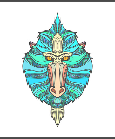 mandrill: Monkey coloring outlines in boho style. Ethnic hare. Tagged with mandrill print on T-shirts, covers, postcards. Chinese New Year mandrill. Tattoo design. Textile, fabric design. Adult coloring