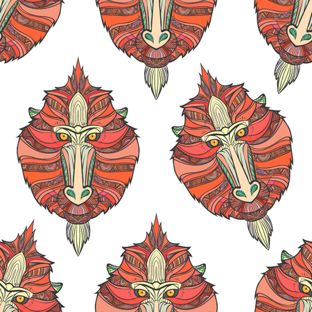 mandrill: Seamless pattern monkey coloring outlines in boho style. Ethnic hare. Pattern with mandrill print on T-shirts, cover, postcards. Easter stylish, elegant monkey. Print design. Textile, fabric design. Illustration