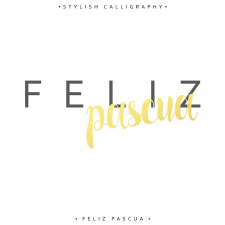 pascua: Feliz pascua. Greeting inscription Happy Easter in Spanish. Holiday card with the elite gold calligraphy . Ready for print design postcards. Isolated label for design of postcards and greeting cards