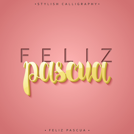 pascua: Feliz pascua. Greeting inscription Happy Easter in Spanish in 3D. Holiday card with the elite gold calligraphy volume. Ready for print design postcards. Realistic volume label.