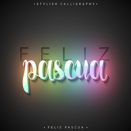 Feliz pascua. Greeting inscription Happy Easter in Spanish in 3D. Holiday card with a luminous holographic volume calligraphy . Ready for print design postcards. Realistic volume label