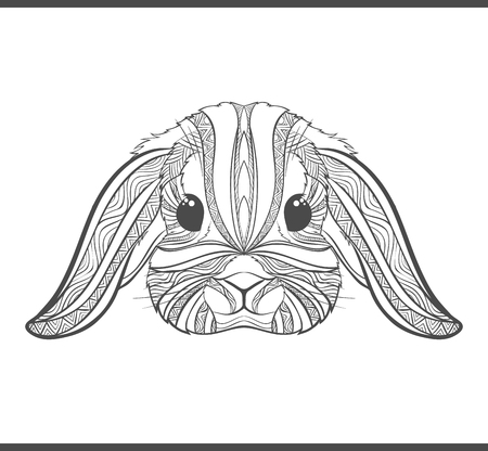 Rabbit coloring outlines in boho style. Ethnic hare. Tagged with cute bunny print on T-shirts, covers, postcards. Easter stylish, elegant rabbit. Tattoo design. Textile, fabric design. Adult coloring
