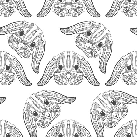 Seamless pattern rabbit coloring outlines in boho style. Ethnic hare. Tagged with cute bunny print on T-shirts, cover, postcards. Easter stylish, elegant rabbit. Tattoo design. Textile, fabric design.