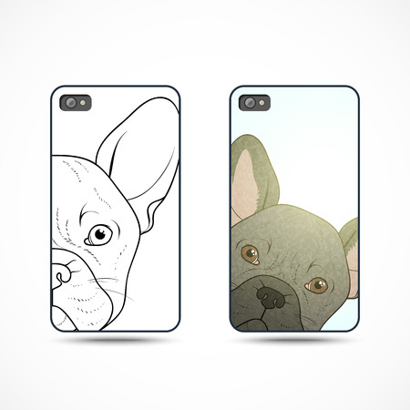 readymade: Set of 2 covers ready-made templates for the phone with a bulldog . Bulldog looking . The dog looks . Lovely dog handmade . Dog sketch by hand. Realistic French bulldog . Design covers for the phone
