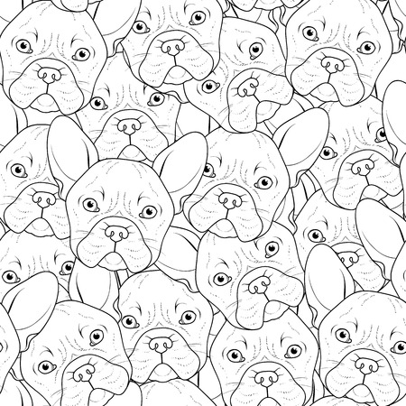 french bulldog: Seamless background with cute bulldog sketch. Realistic dog handmade. Coloring monochrome with bulldog. Print for printing on textile. Breed dogs. Seamless background with dog for printed materials Illustration
