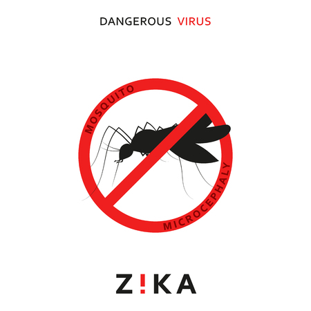 signs symbols danger: Stop zika. Dangerous virus. Caution virus threat. Mosquitoes infected with microcephaly. Mosquitoes are carriers dangerous diseases. Virus dangerous for pregnant women,  Illustration of danger warning