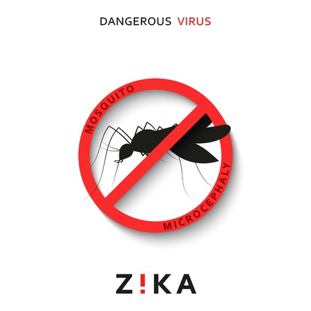 dangerous: Stop zika. Dangerous virus. Caution virus threat. Mosquitoes infected with microcephaly. Mosquitoes are carriers dangerous diseases. Virus dangerous for pregnant women,  Illustration of danger warning