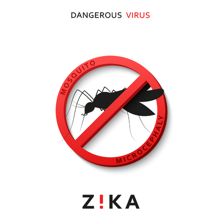 health threat: Stop zika. Dangerous virus. Caution virus threat. Mosquitoes infected with microcephaly. Mosquitoes are carriers dangerous diseases. Virus dangerous for pregnant women,  Illustration of danger warning