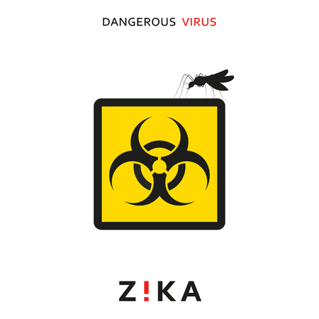 Stop zika. Dangerous virus. Caution virus threat. Mosquitoes infected with microcephaly. Mosquitoes are carriers dangerous diseases. Virus dangerous for pregnant women,  Illustration of danger warning