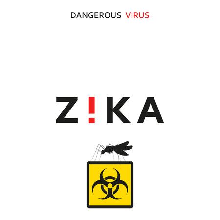 peligro: Pare zika. virus peligroso. amenaza de virus precaución. Los mosquitos infectados con microcefalia. Los mosquitos son portadores de enfermedades peligrosas. Virus peligroso para las mujeres embarazadas, Ilustración de advertencia de peligro