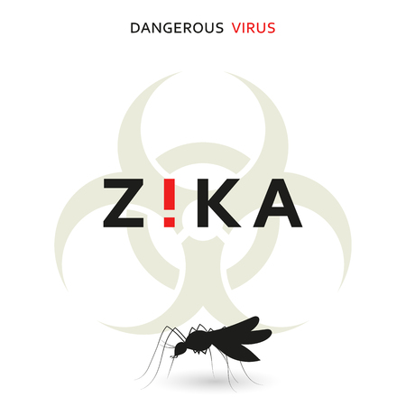 threat: Stop zika. Dangerous virus. Caution virus threat. Mosquitoes infected with microcephaly. Mosquitoes are carriers dangerous diseases. Virus dangerous for pregnant women,  Illustration of danger warning