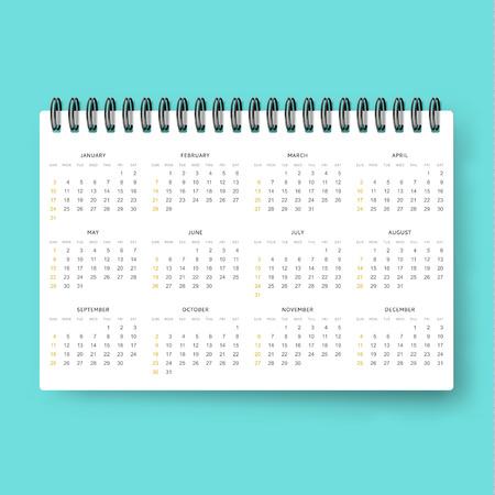datebook: Realistic calendar. Calendar template in English in 2016 . Ready calendar. Mock up calendar. Calendar realistic. Design of the calendar . datebook design. Calendar for 2016. The daily print business . Illustration