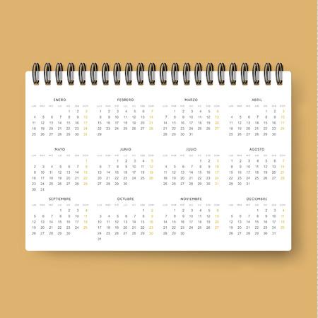 datebook: Realistic calendar. Calendar template in Spanish 2016 . Ready calendar. Mock up calendar. Calendar realistic. Design of the calendar . datebook design. Calendar for 2016. The daily print business .
