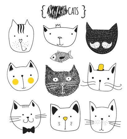 dessin noir et blanc: Jeu de chats mignons de griffonnage. cat Sketch. Cat Sketch. la main de Cat. Imprimer T-shirts pour le chat. Imprimer pour les vêtements. Enfants Doodle animaux. chats museau élégant. Isolated cat. Animal de compagnie Illustration