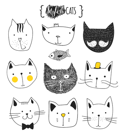 black: Set of cute doodle cats . Sketch cat . Cat Sketch . Cat handmade . Print T-shirts for the cat . Print for clothes . Kids Doodle animals . Stylish muzzle cats . Isolated cat. Pet