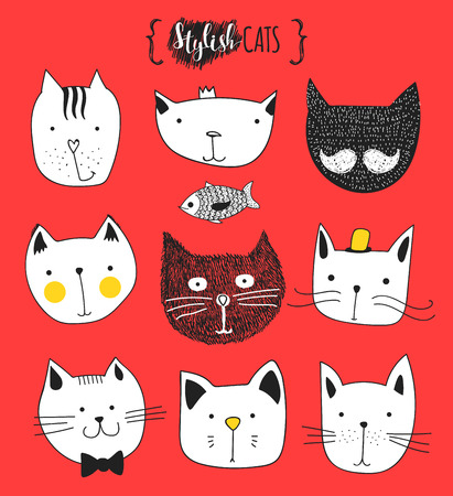 outline fish: Set of cute doodle cats . Sketch cat . Cat Sketch . Cat handmade . Print T-shirts for the cat . Print for clothes . Kids Doodle animals . Stylish muzzle cats . Isolated cat. Pet