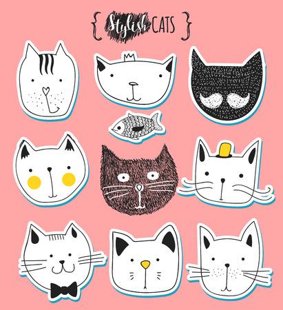 gato dibujo: Conjunto de gatos lindos del doodle. Bosquejo del gato. Bosquejo del gato. hecha a mano del gato. Camisetas estampadas para el gato. Imprimir para la ropa. Doodle Kids animales. gatos hocico con estilo. Gato aislado. Mascota