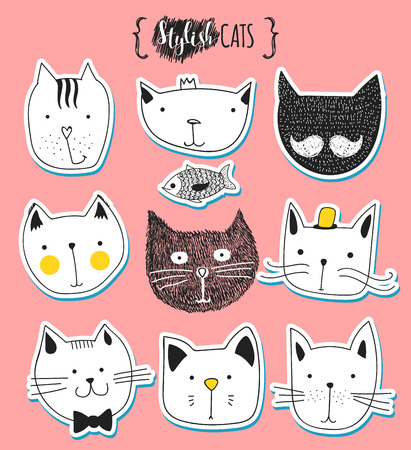 cat paw: Set of cute doodle cats . Sketch cat . Cat Sketch . Cat handmade . Print T-shirts for the cat . Print for clothes . Kids Doodle animals . Stylish muzzle cats . Isolated cat. Pet