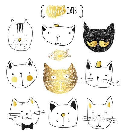 Reeks leuke doodle katten. Schets cat. Schets van de kat. Cat handgemaakt. Afdrukken T-shirts voor de kat. Print voor kleding. Kids Doodle dieren. Stijlvolle snuit katten. Geïsoleerde kat. Pet