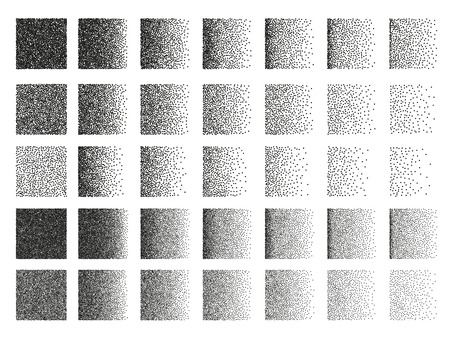 circle objects: Set of 35 square stipple pattern for design . Spot engraving to create brushes . Engraving for retro backgrounds . Engraving for shade . Highly detailed set of tile engraving for design