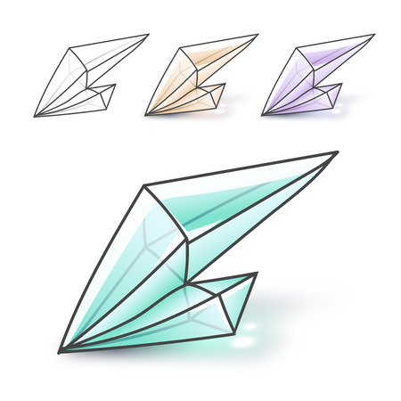 surrealistic: Set 4 isolated fashion brightly colored diamonds in hipster style. Stylish crystal design in pink and blue colors. Surrealistic crystals. Stylized gems. Natural stones. Diamonds and rhinestones.
