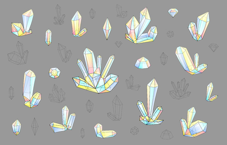 surrealistic: Set 18 isolated fashion brightly colored diamonds in hipster style. Stylish crystal design in pink and blue colors. Surrealistic crystals. Stylized gems. Natural stones. Diamonds and rhinestones.