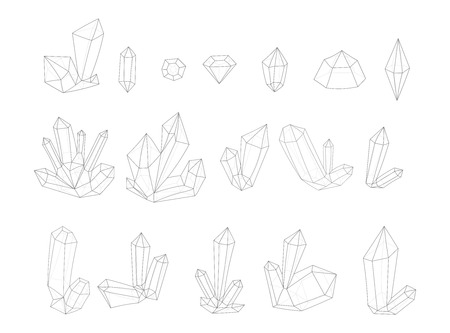 surrealistic: Set 17 isolated fashion crystal. Monochrome diamonds in lines hipster style. Stylish crystal design outlines. Surrealistic crystals. Stylized gems. Natural stones. Diamonds and rhinestones.