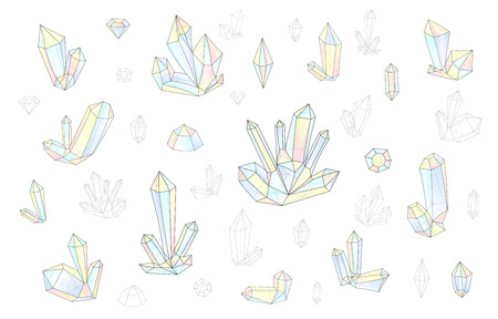 surrealistic: Set 18 isolated on white fashion brightly colored diamonds  hipster style. Stylish transparent crystal in pink and blue. Surrealistic crystals. Stylized gems. Natural stones. Diamonds and rhinestones. Illustration