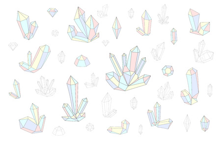 surrealistic: Set 18 isolated fashion brightly colored diamonds in hipster style. Stylish crystal design in pink, blue, yellow colors. Surrealistic crystals. Stylized gems. Natural stones. Diamonds and rhinestones.