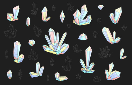 surrealistic: Set 18 isolated on grey fashion brightly colored diamonds in hipster style. Stylish crystal design in pink blue colors. Surrealistic crystals. Stylized gems. Natural stones. Diamonds and rhinestones.
