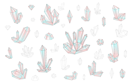 surrealistic: Set 18 isolated on white fashion brightly colored diamonds  hipster style. Stylish transparent crystal in red and blue. Surrealistic crystals. Stylized gems. Natural stones. Diamonds and rhinestones. Illustration