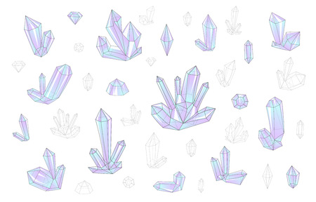surrealistic: Set 18 isolated on white fashion brightly colored diamonds  hipster style. Stylish transparent crystal in lilac and blue. Surrealistic crystals. Stylized gems. Natural stones. Diamonds and rhinestones