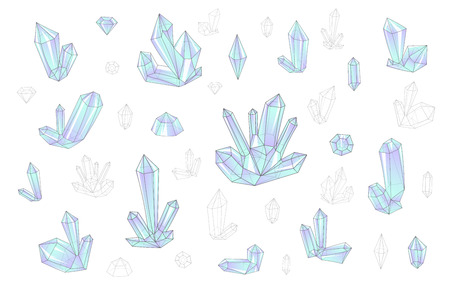 surrealistic: Set 18 isolated on white fashion brightly colored diamonds  hipster style. Stylish transparent crystal in blue and lilac. Surrealistic crystals. Stylized gems. Natural stones. Diamonds and rhinestones Illustration