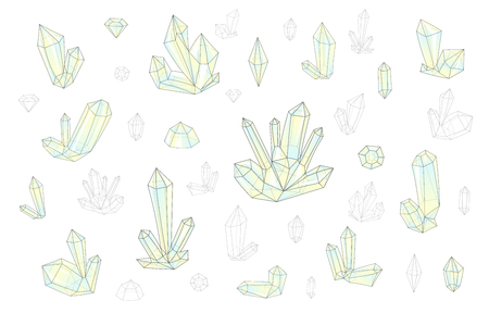 surrealistic: Set 18 isolated on white fashion brightly colored diamonds  in hipster. Stylish transparent crystal in green and yellow. Surrealistic crystals. Stylized gems. Natural stones. Diamonds and rhinestones
