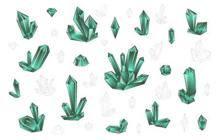 surrealistic: Set 18 isolated on white fashion brightly colored diamonds  hipster style. Stylish transparent crystal in blue and green. Surrealistic crystals. Stylized gems. Natural stones. Diamonds and rhinestones