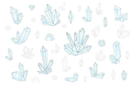 surrealistic: Set 18 isolated on white fashion brightly colored diamonds  hipster style. Stylish transparent crystal in blue colors. Surrealistic crystals. Stylized gems. Natural stones. Diamonds and rhinestones