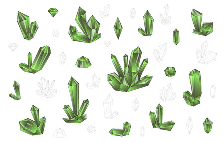 surrealistic: Set 18 isolated on white fashion brightly colored diamonds  hipster style. Stylish transparent crystal in green colors. Surrealistic crystals. Stylized gems. Natural stones. Diamonds and rhinestones Illustration