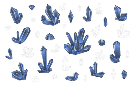 surrealistic: Set 18 isolated on white fashion brightly colored diamonds  hipster style. Stylish transparent crystal in lilac colors. Surrealistic crystals. Stylized gems. Natural stones. Diamonds and rhinestones