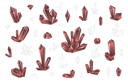 surrealistic: Set 18 isolated on white fashion brightly colored diamonds  hipster style. Stylish transparent crystal in red colors. Surrealistic crystals. Stylized gems. Natural stones. Diamonds and rhinestones