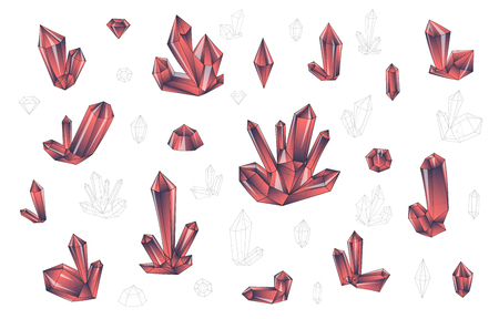 surrealistic: Set 18 isolated on white fashion brightly colored diamonds  hipster style. Stylish transparent crystal in pink colors. Surrealistic crystals. Stylized gems. Natural stones. Diamonds and rhinestones Illustration