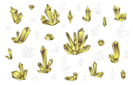 surrealistic: Set 18 isolated on white fashion brightly colored diamonds  in hipster. Stylish transparent crystal in brown and yellow. Surrealistic crystals. Stylized gems. Natural stones. Diamonds and rhinestones Illustration