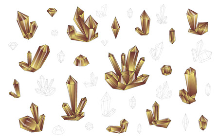 surrealistic: Set 18 isolated on white fashion brightly colored diamonds  in hipster. Stylish transparent crystal in yellow and brown. Surrealistic crystals. Stylized gems. Natural stones. Diamonds and rhinestones