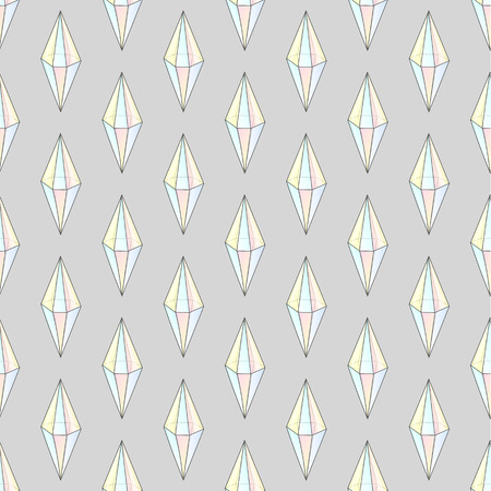 faceting: Fashion hipster seamless pattern with diamonds. Rhinestones design tiles. Precious stones on a gray background. Diamonds in color hologram. Seamless crystals. Natural jewelry Illustration
