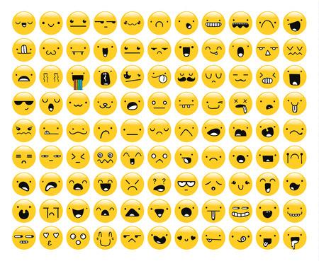 lacrime: Grande set di 99 emozione gialla isolata su bianco. set Emoji. La rabbia e la compassione. Risate e lacrime. Sorriso e tristezza. Tristezza e sorpresa. La felicit� e la paura. Le emozioni per lo sviluppo web.