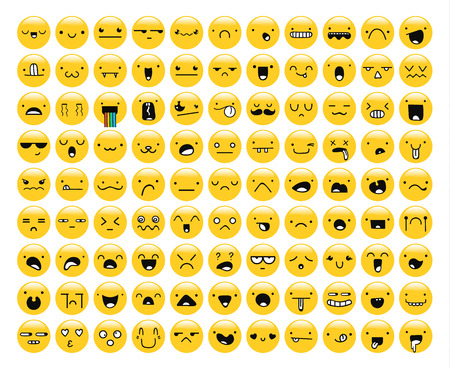 99: Great set of 99 yellow emotion isolated on white. Emoji set. Anger and compassion. Laughter and tears. Smile and sadness. Sadness and surprise. Happiness and fear. Emotions for Web development.