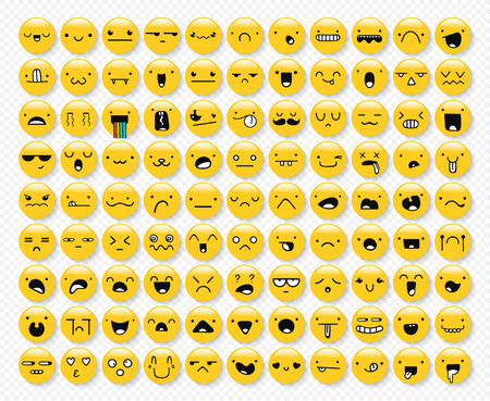 99: Great set of 99 yellow emotions insulated with a transparent shadow. Emoji set. Anger and compassion. Laughter and tears. Smile and sadness. Sadness and surprise. Happiness and fear. Emotions for Web Illustration