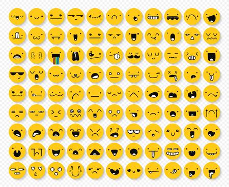 Geweldige set van 99 gele emoties geïsoleerd met transparante schaduw. Emoties voor Web. Emoji set. Woede en mededogen. Gelach en tranen. Glimlach en verdriet. Verdriet en verrassing. Geluk en angst. Stock Illustratie