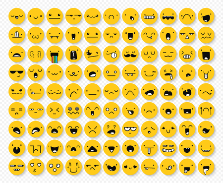 99: Great set of 99 yellow emotions insulated with transparent shadow. Emotions for Web. Emoji set. Anger and compassion. Laughter and tears. Smile and sadness. Sadness and surprise. Happiness and fear.