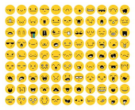 Geweldige set 99 gele emotie geïsoleerd op wit. Emoji set. Woede en mededogen. Gelach en tranen. Glimlach en verdriet. Verdriet en verrassing. Geluk en angst. Emoties voor Web development.